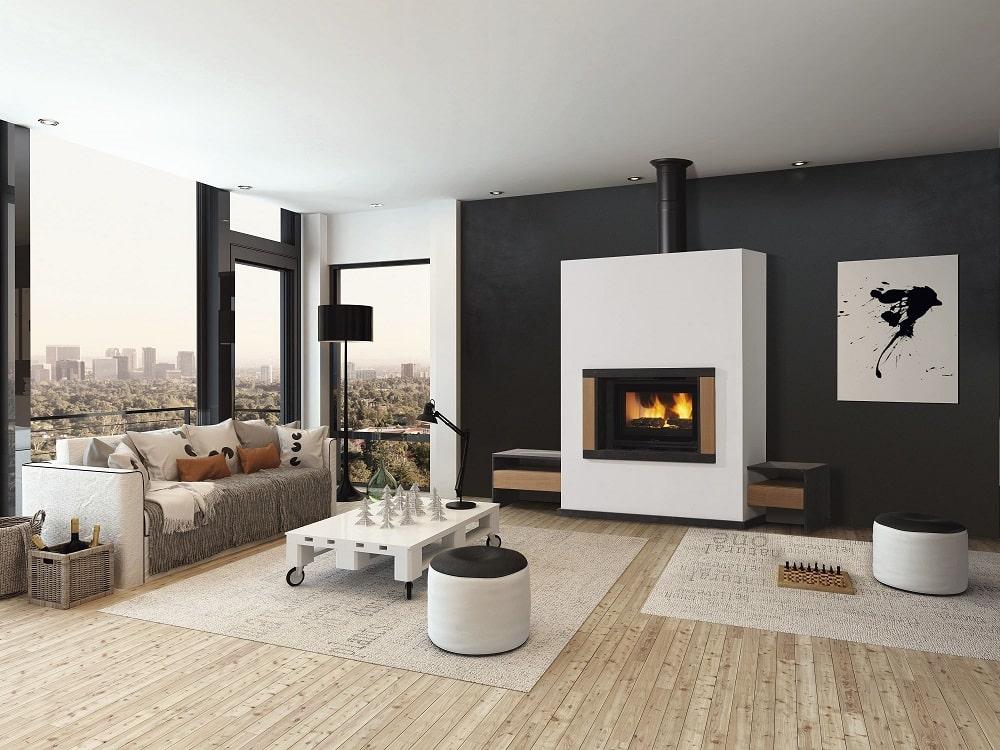 cheminée d'angle moderne avec banquette foyer fermé RT2012
