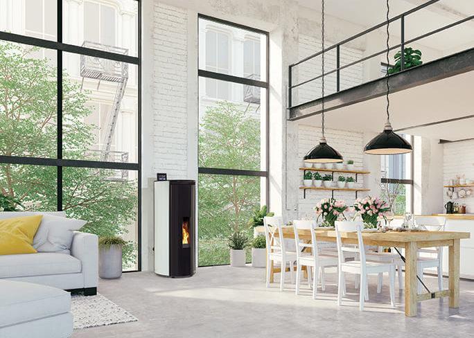 Cheminée Philippe - Poele a granulés - habillage verre blanc- programmable -etanche-moderne