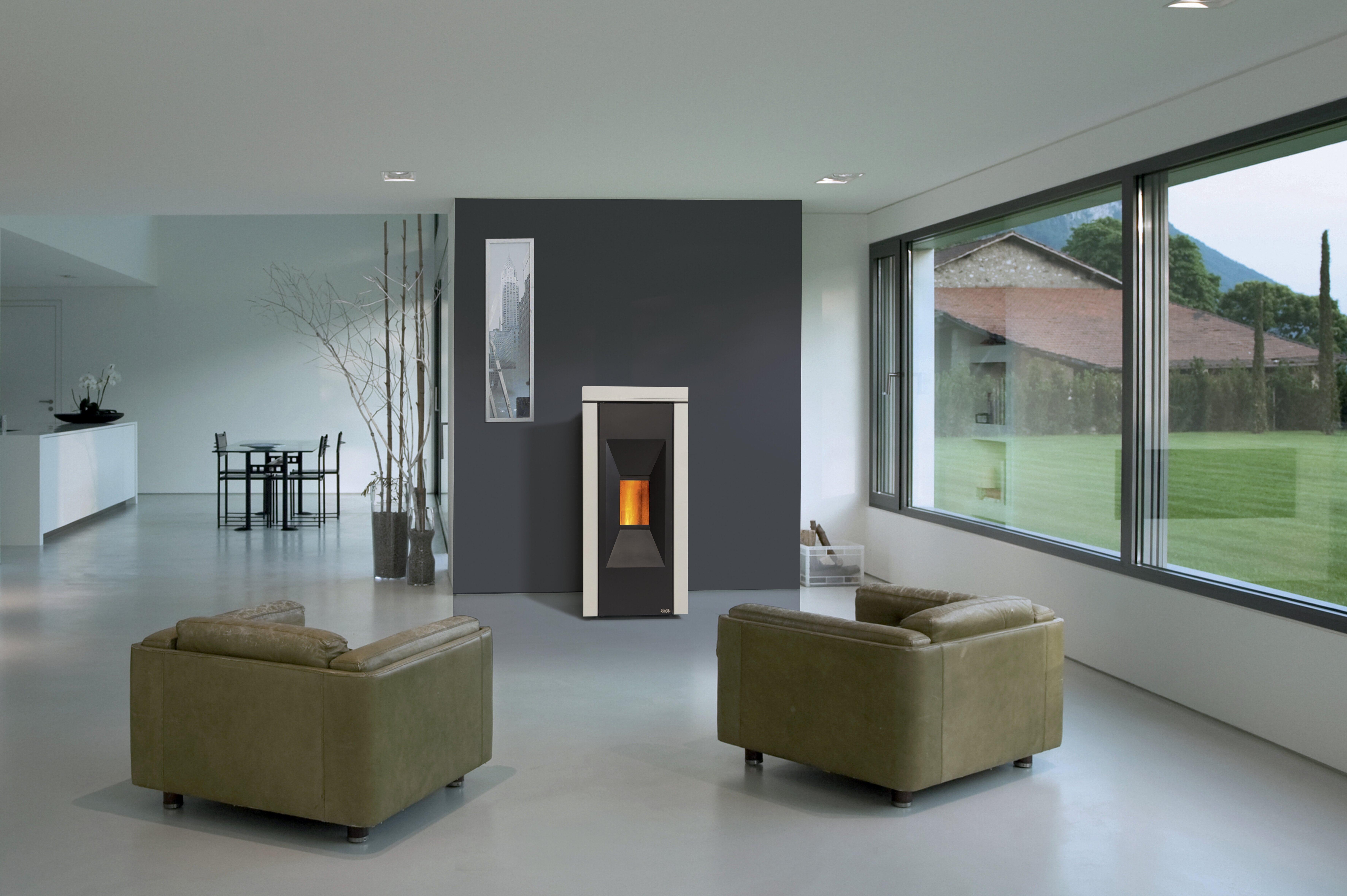 Poêle à granulés -cheminée Philippe- noir et blanc-chauffage-autonome-programmable-moderne