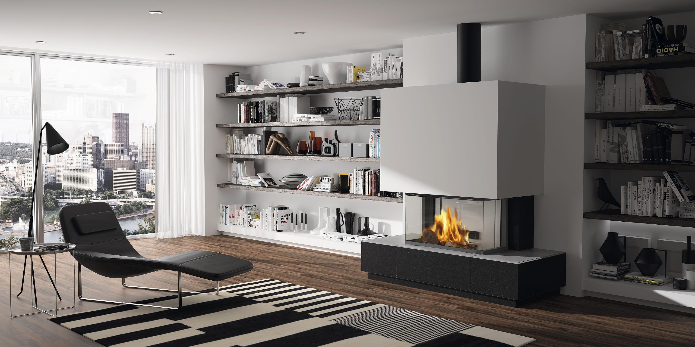cheminée-insert bois-insert 3 vitres- centre de la pièce-spécialiste de la cheminée- Pessac-gironde-aquitaine