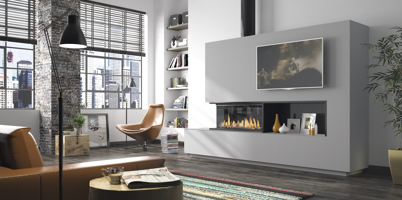 cheminée Philippe-angle -foyer gaz - conduit noir- niche décorative-sur mesure-décoration intérieur
