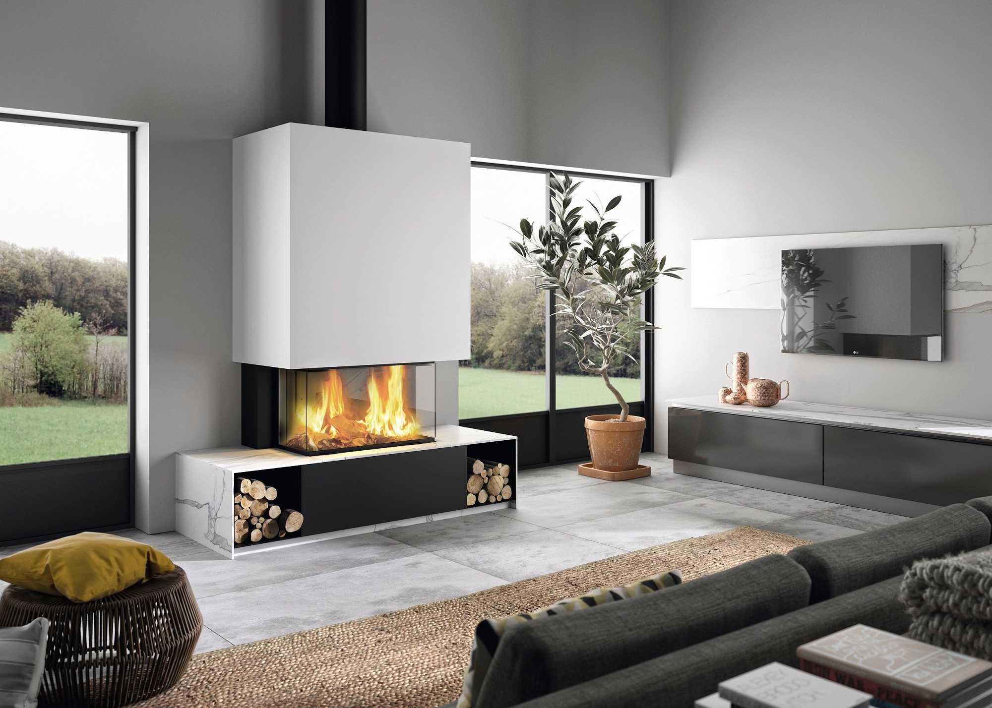 Cheminée Philippe- Cheminée centrale-3 vitres- niches bois intégrés-conduit noir apparents-banquette sur mesure-bordeaux