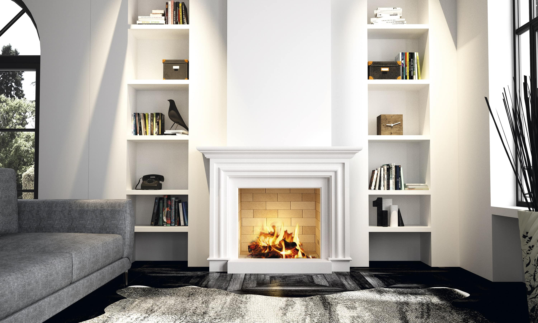 Cheminée Philippe-cheminée classique- en pierre blanche -aménagement décoratif-bibliothèque latérale-sur mesure