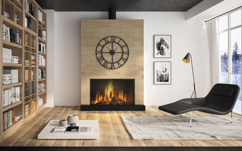 Cheminée Philippe- habillage bois- foyer fermé- insert bois- conduit noir-moderne- sur mesure