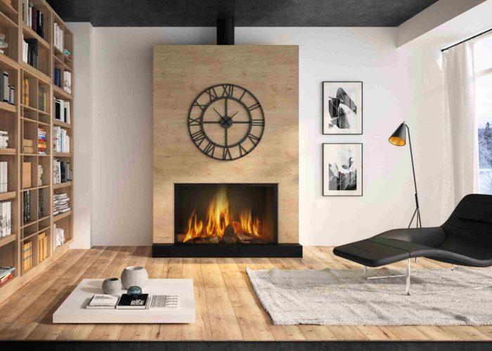 Cheminées Philippe- cheminée centrale- Habillage bois-insert bois-moderne- naturel- centrale- professionnel- bordeaux