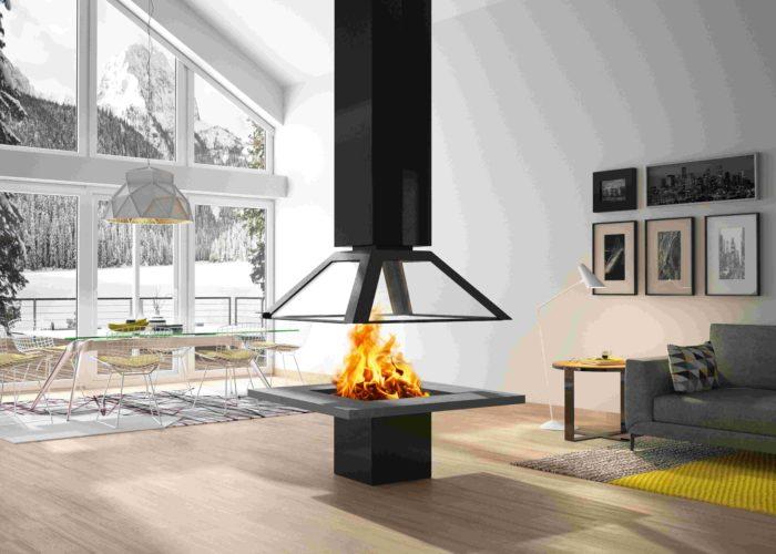 Cheminée Philippe- cheminée centrale- noir- sur mesure- salon- décoration intérieur- fabrication française