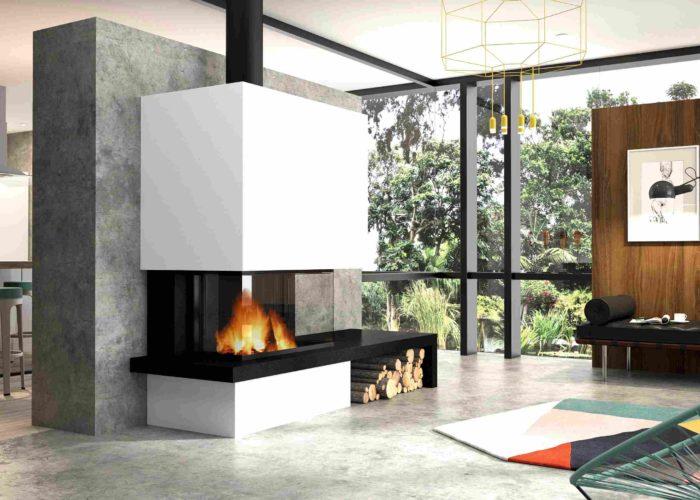 cheminée Philippe- cheminée centrale-insert bois-3vitres-vision feu- sur mesure- banquette-centre salon-avec banquette noir en granit - niche bois intégré