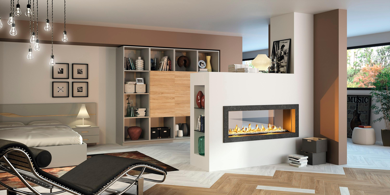 Cheminée Philippe-insert au gaz - foyer fermé double face- 2 vitres- centrale- en épi- moderne- aménagement sur mesure- décoration intérieur