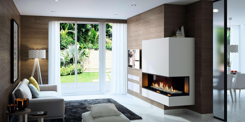 Cheminée Philippe- insert gaz- angle-2 vitres-aménagement -sur mesure - moderne-élégance